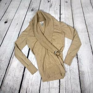 Cache Open Shoulder Gold Wrap Sweater M